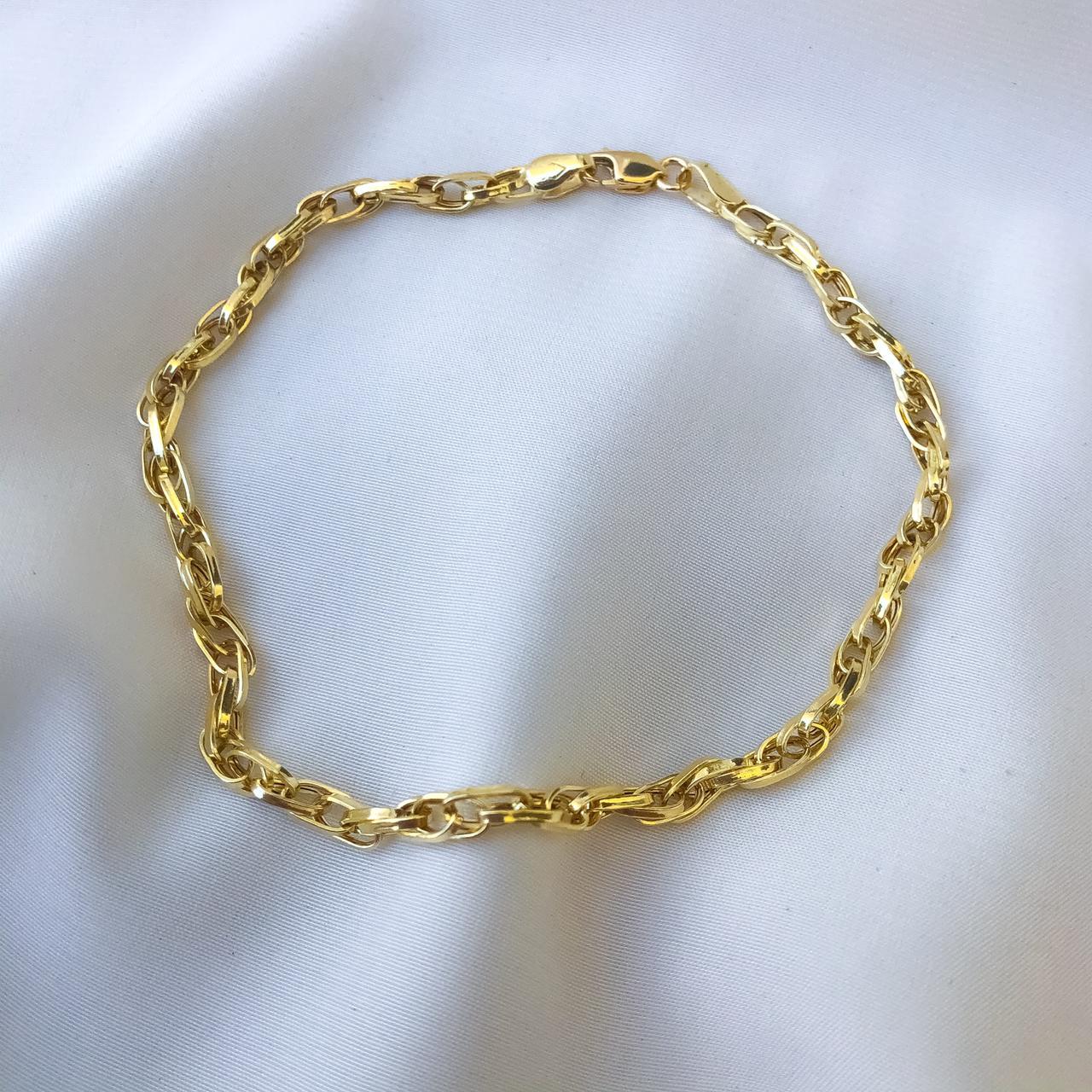 Pulseira Elo Duplo em Ouro 18K 18cm