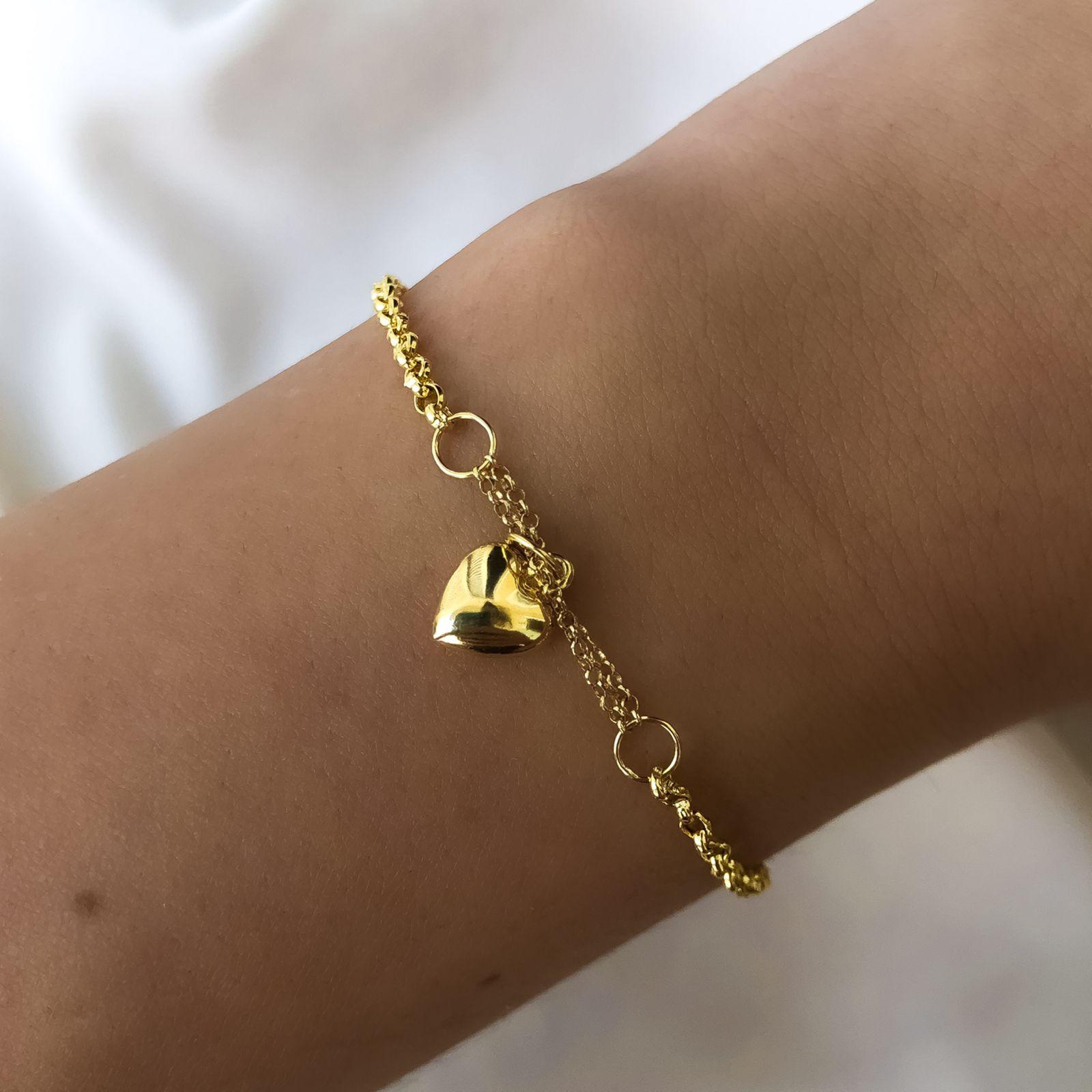 Pulseira Elo Português Pingente Coração em Ouro 18K 14cm