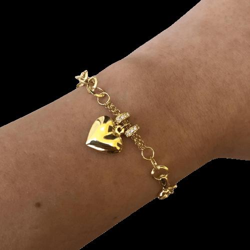 Pulseira Elo Português Pingente de Coração e Separador Cravejado em Ouro 18K 18cm