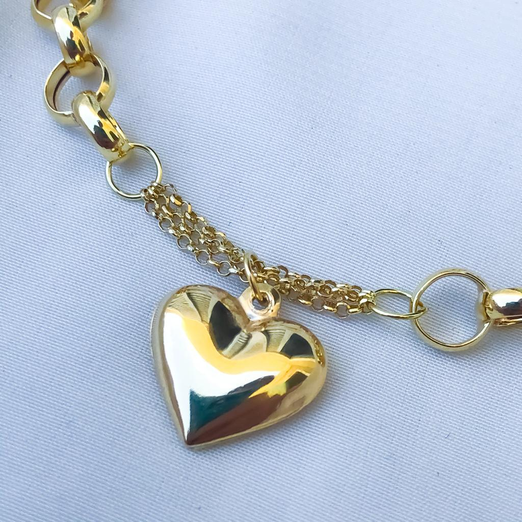 Pulseira Elo Português Pingente de Coração Médio em Ouro 18K 18cm