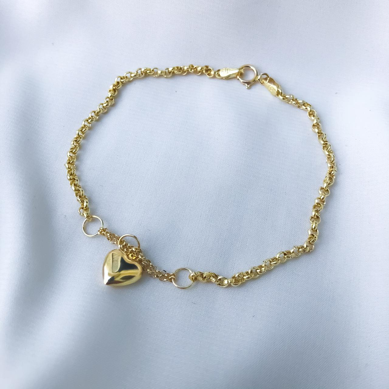 Pulseira Elo Português Pingente de Coração Pequeno em Ouro 18K 19cm