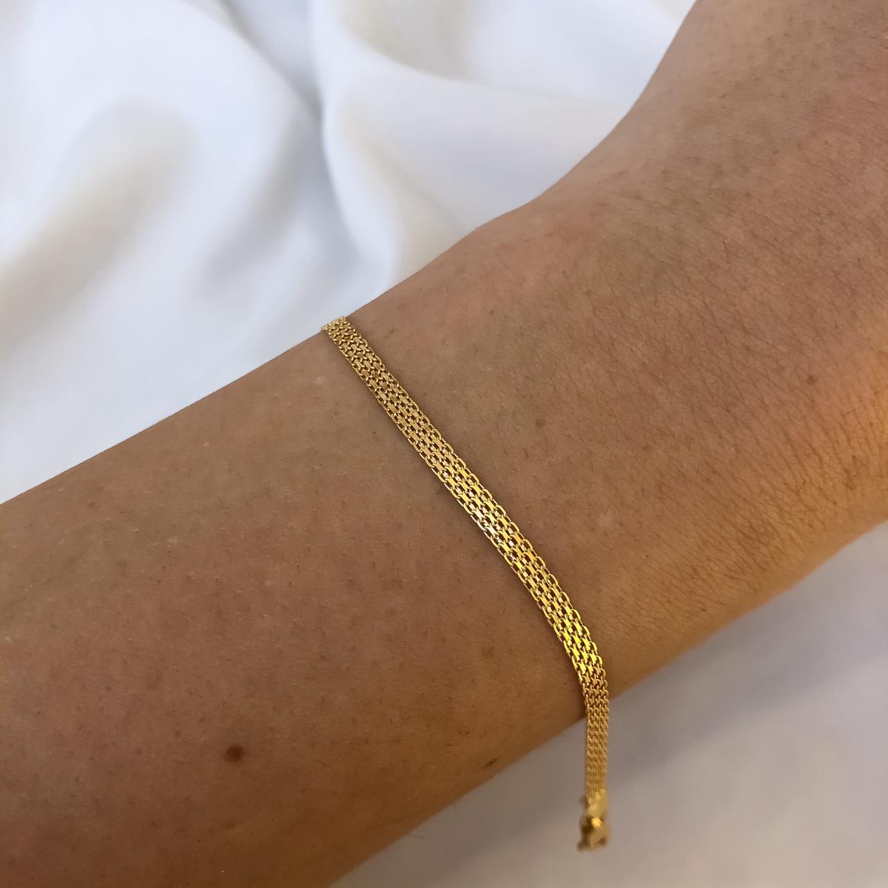 Pulseira Esteira em Ouro 18K 19cm