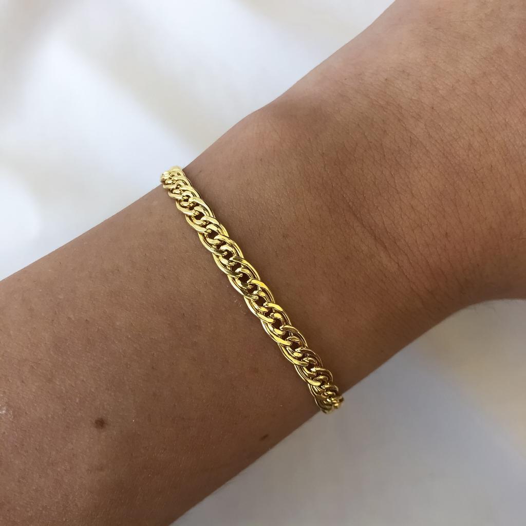 Pulseira Groumet Duplo Elo Médio em Ouro 18K 18cm