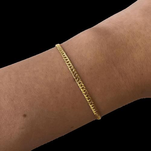 Pulseira Groumet Elo Fino em Ouro 18K 18cm