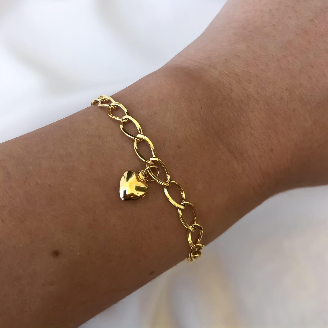 Pulseira Groumet Elo Longo Pingente Coração em Ouro 18K 18cm