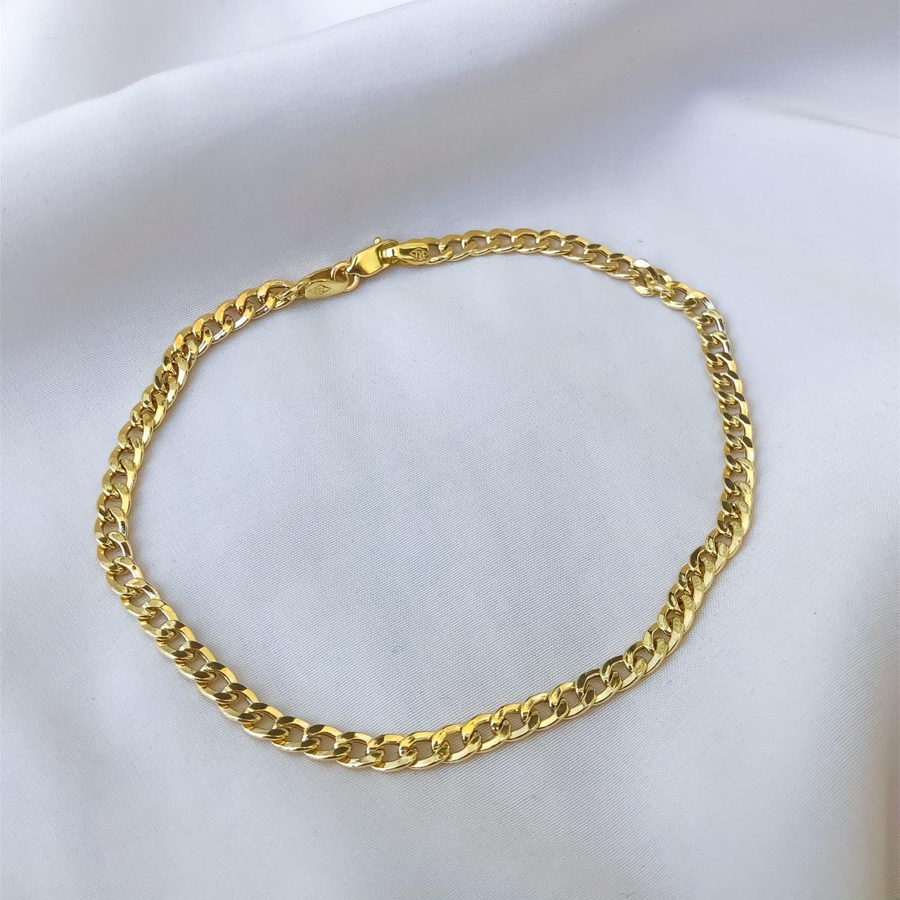 Pulseira Groumet Elo Médio em Ouro 18K 18cm