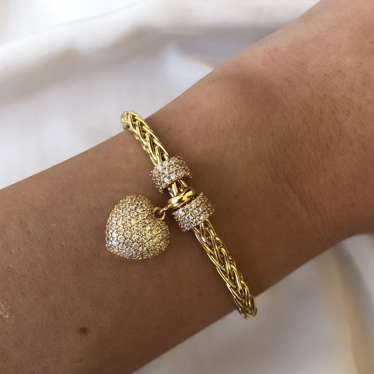Pulseira Malha com Pingente Coração Cravejado em Ouro 18K 18cm