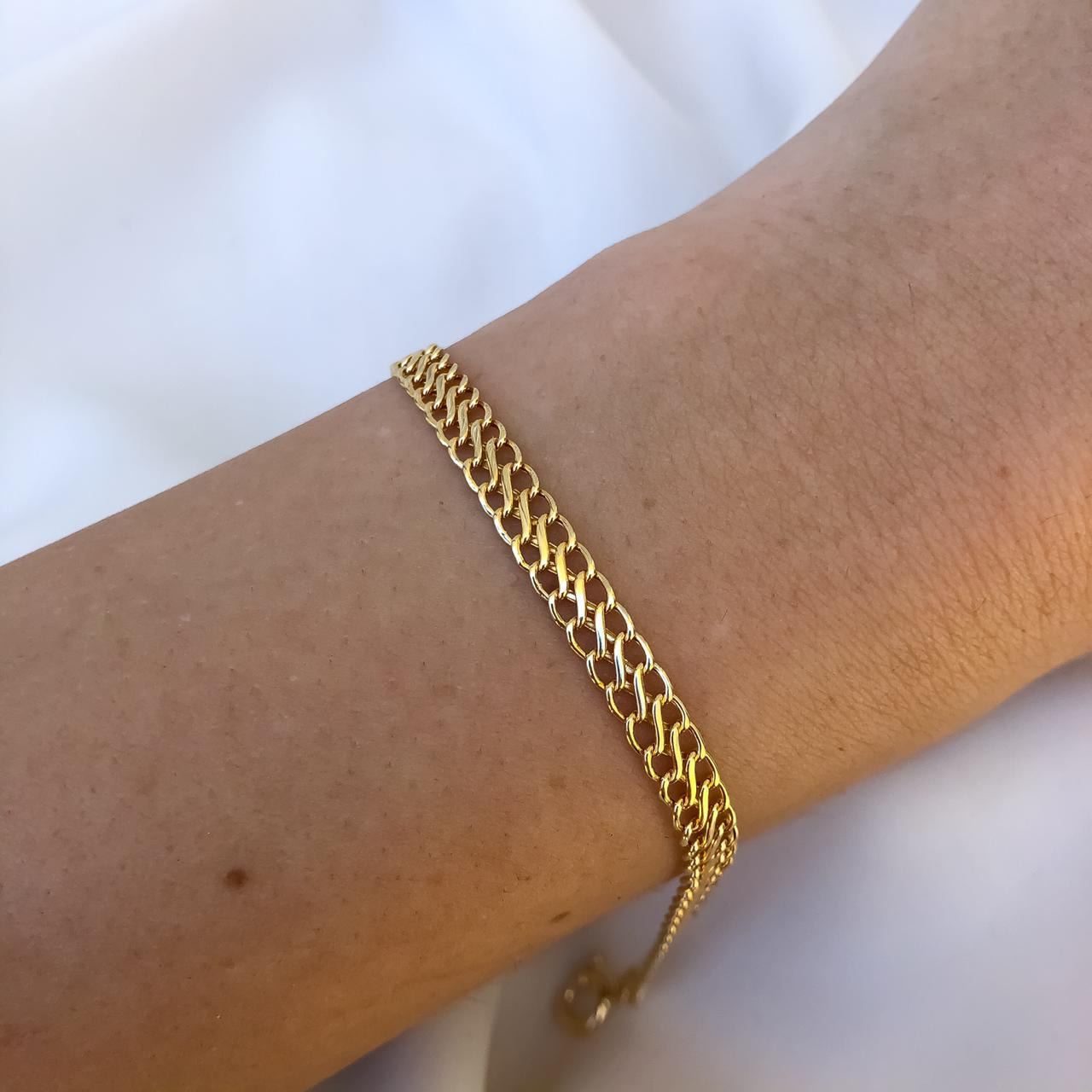 Pulseira Malha Lacraia em Ouro 18K 18cm