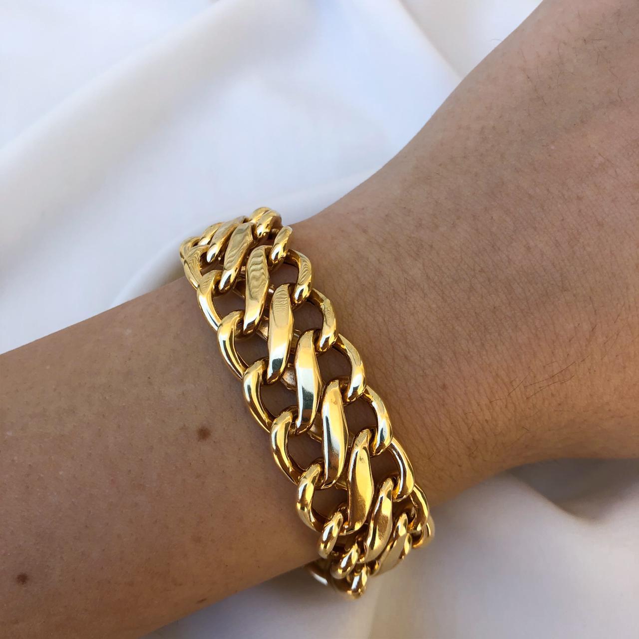 Pulseira Malha Lacraia em Ouro 18K 21cm
