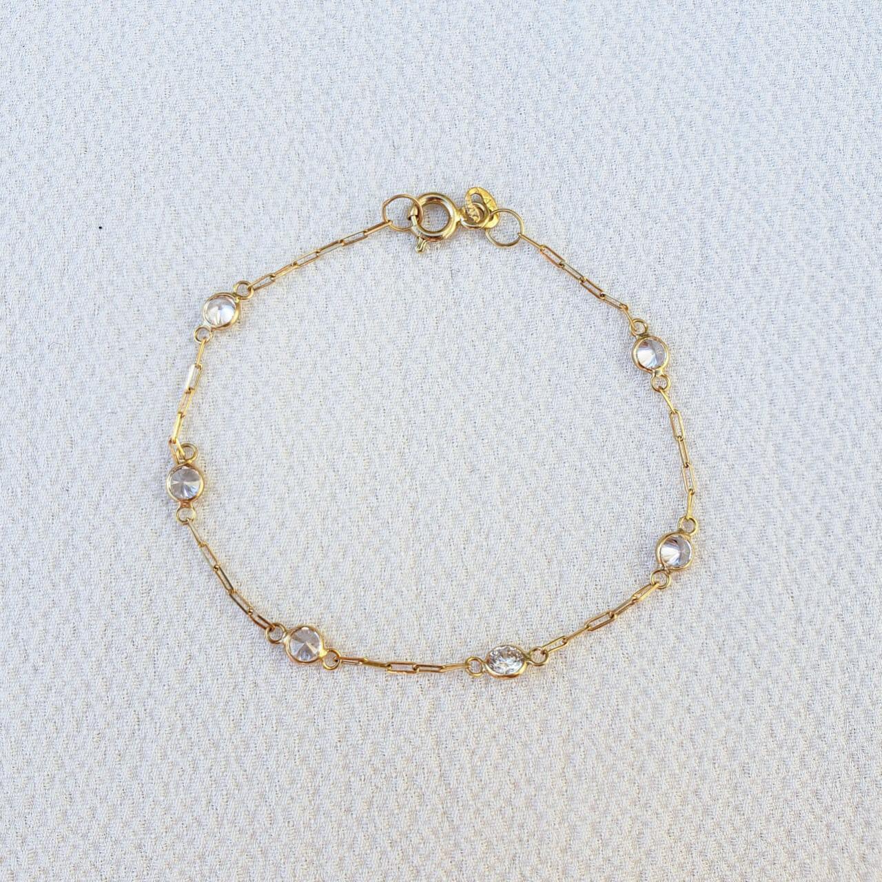 Pulseira Ouro 18k 13,cm (Cristal)