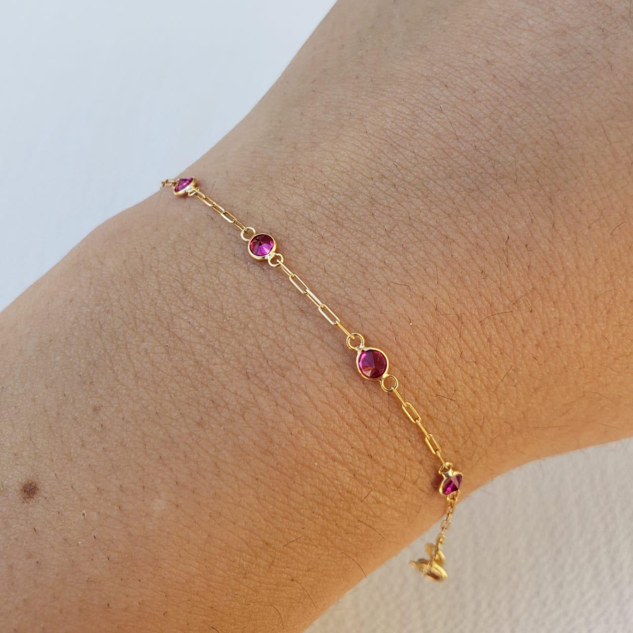 Pulseira Ouro 18k 13,cm ( Ruby Sintético)