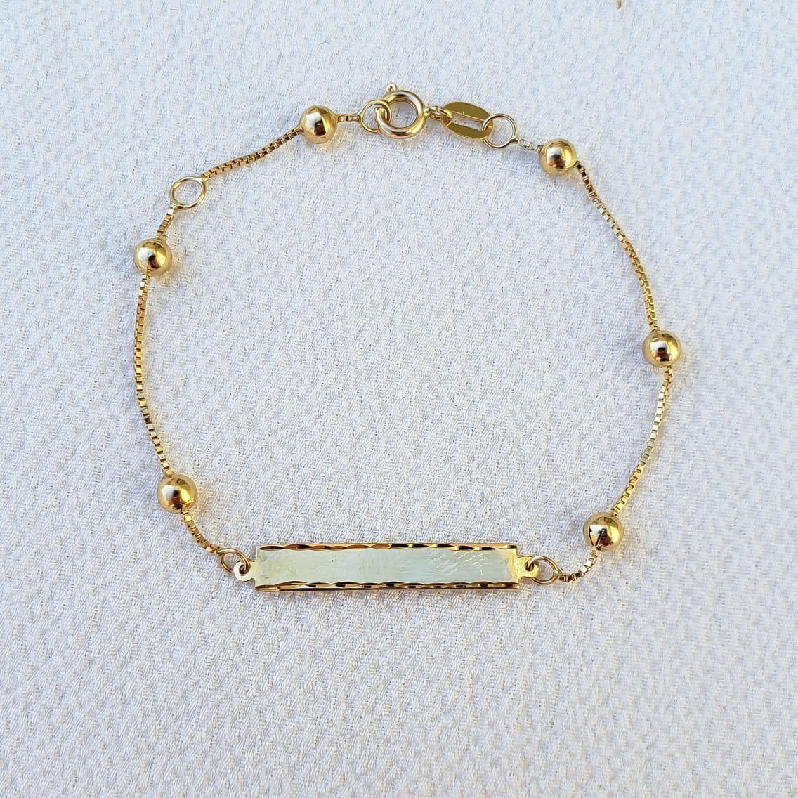 Pulseira Plaquinha e Bolinhas  em Ouro 18k 13,5cm