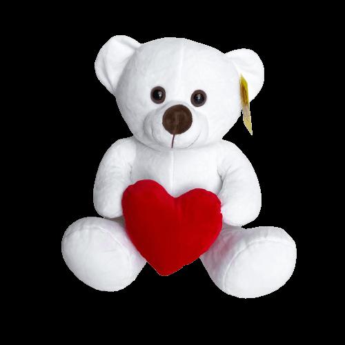Ursinho De Pelúcia Branco com Coração Vermelho