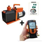 Bomba de Vácuo 5CFM Suryha + Vacuômetro digital Testo 552