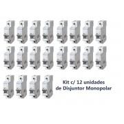 Disjuntor Monopolar Curva C 16a (12 Unidades) Eletromar