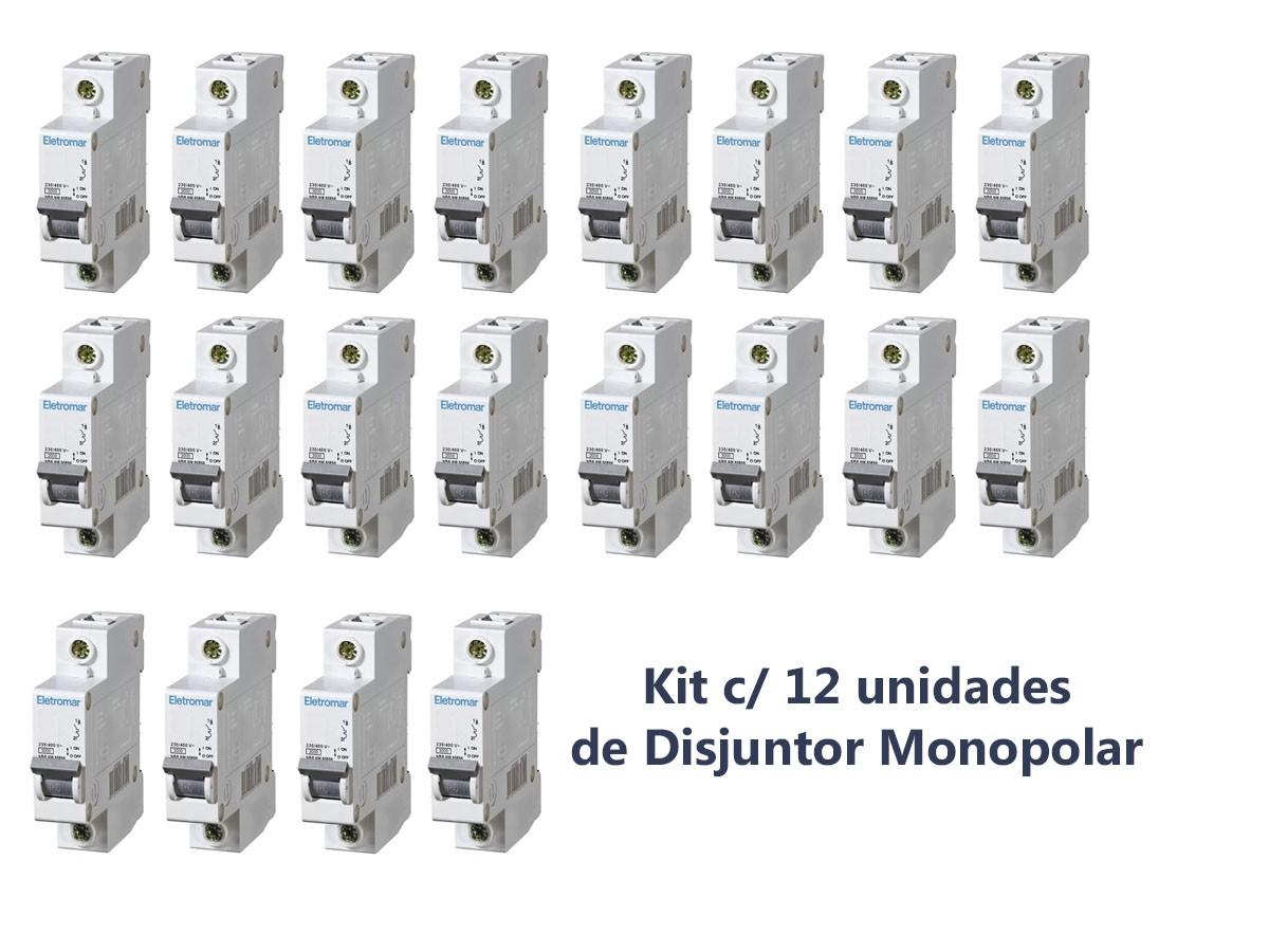 Disjuntor Monopolar Curva C 10a (12 Unidades) Eletromar