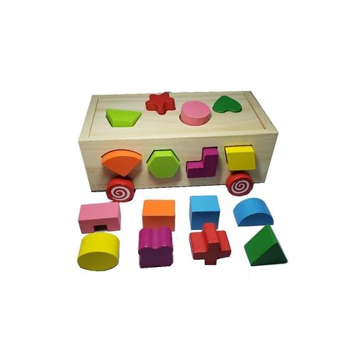 Brinquedo Educativo de Madeira Com Rodinhas Formas e Encaixe