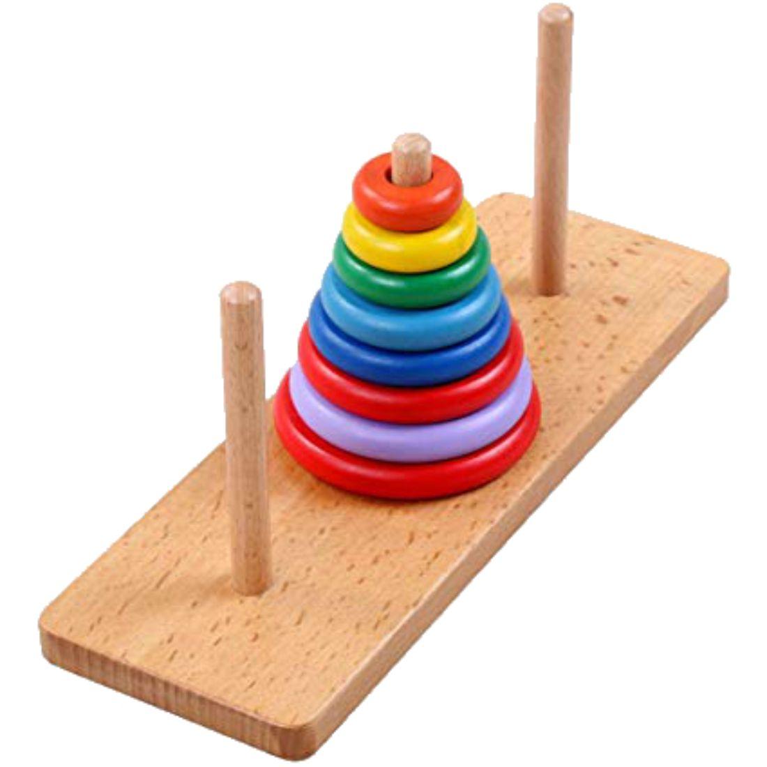 Brinquedo Educativo Torre de Hanói em Madeira - Blessed.