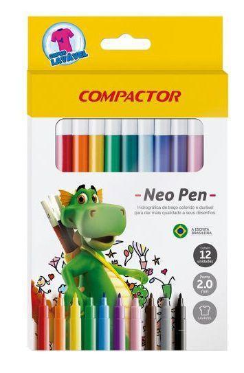 Caneta Canetinha Hidrográfica Compactor Neo Pen Com 12 Unidades