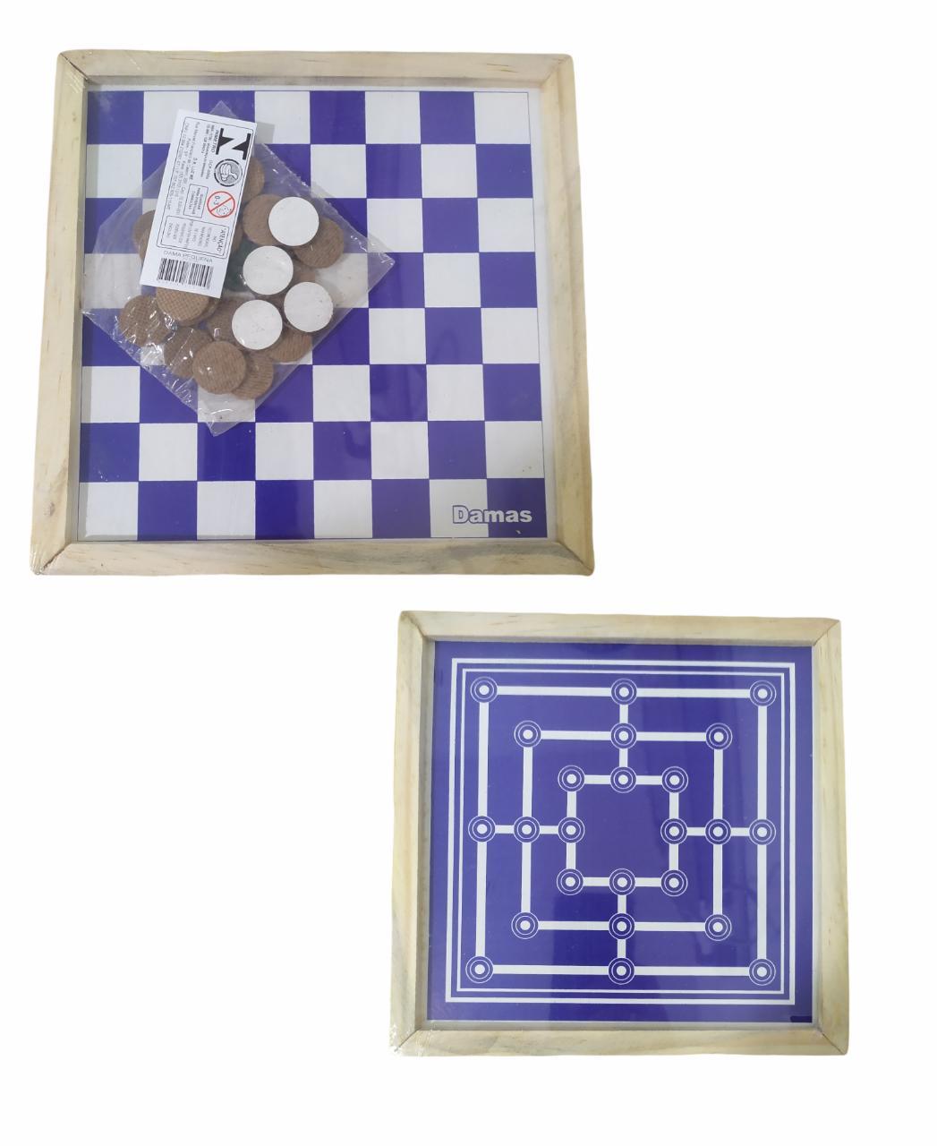 Jogo de Dama e Trilha 2 em 1 Tabuleiro Básico de Madeira 21x21CM