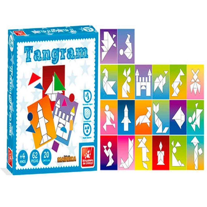 Jogo Tangram Infantil E Educativo 62 Peças Em Madeira - Brincadeira de Criança