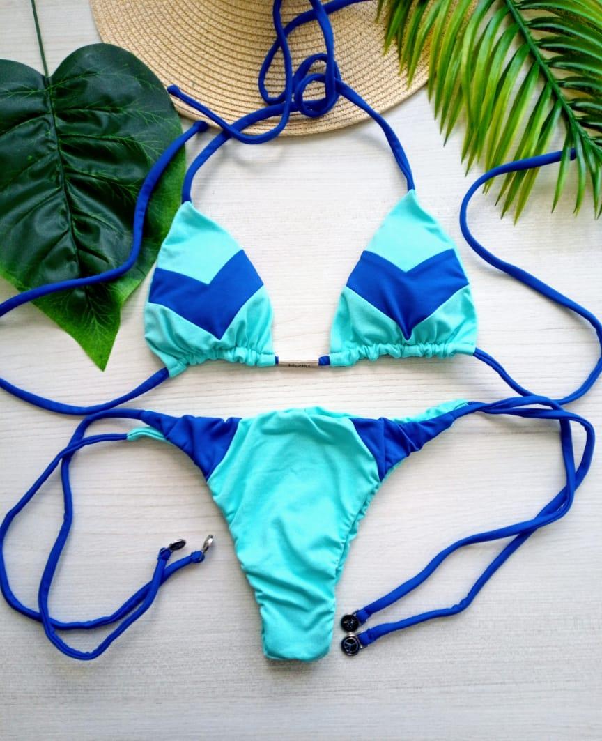 Biquíni Recorte Verde Água e Azul - Lacinho