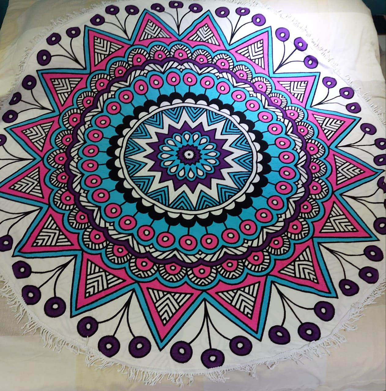 Canga Redonda Atoalhada - Mandala Colorida