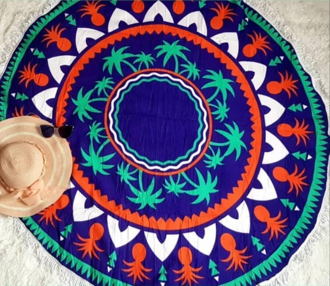Canga Redonda Atoalhada - Mandala de Abacaxis Azul