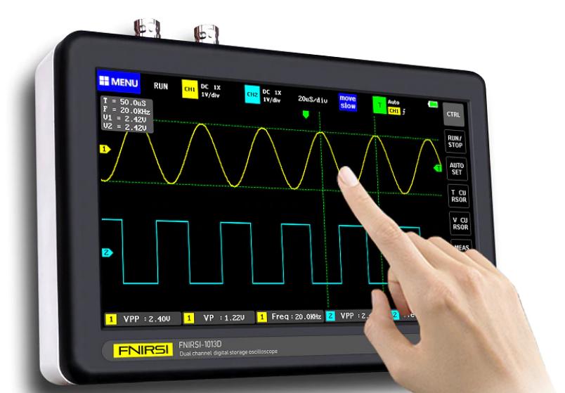 Osciloscópio (TabletScope)  100MHz, Fnirsi 1013D,  2 canais