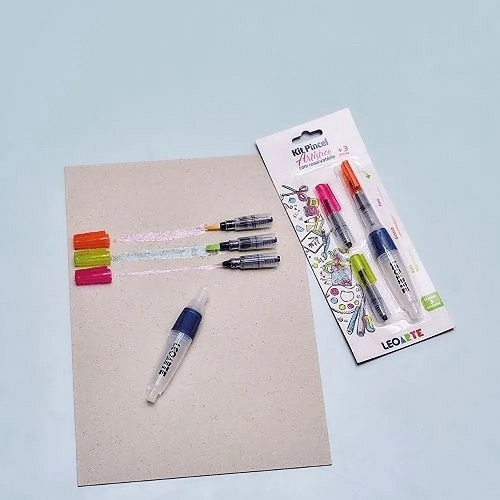 KIT PINCEL ARTISTICO COM RESERVATORIO COM 3 PONTAS BISTER 77001 LEOARTE