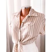 Blusa listrada manga 3/4 com amarração na cintura