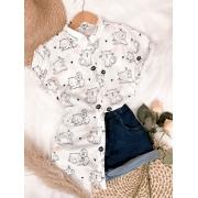 Camisa manga 3/4 estampa gatinho
