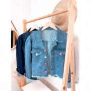 Jaqueta jeans botão colors