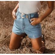 Short jeans com cinto MANCHADO LD