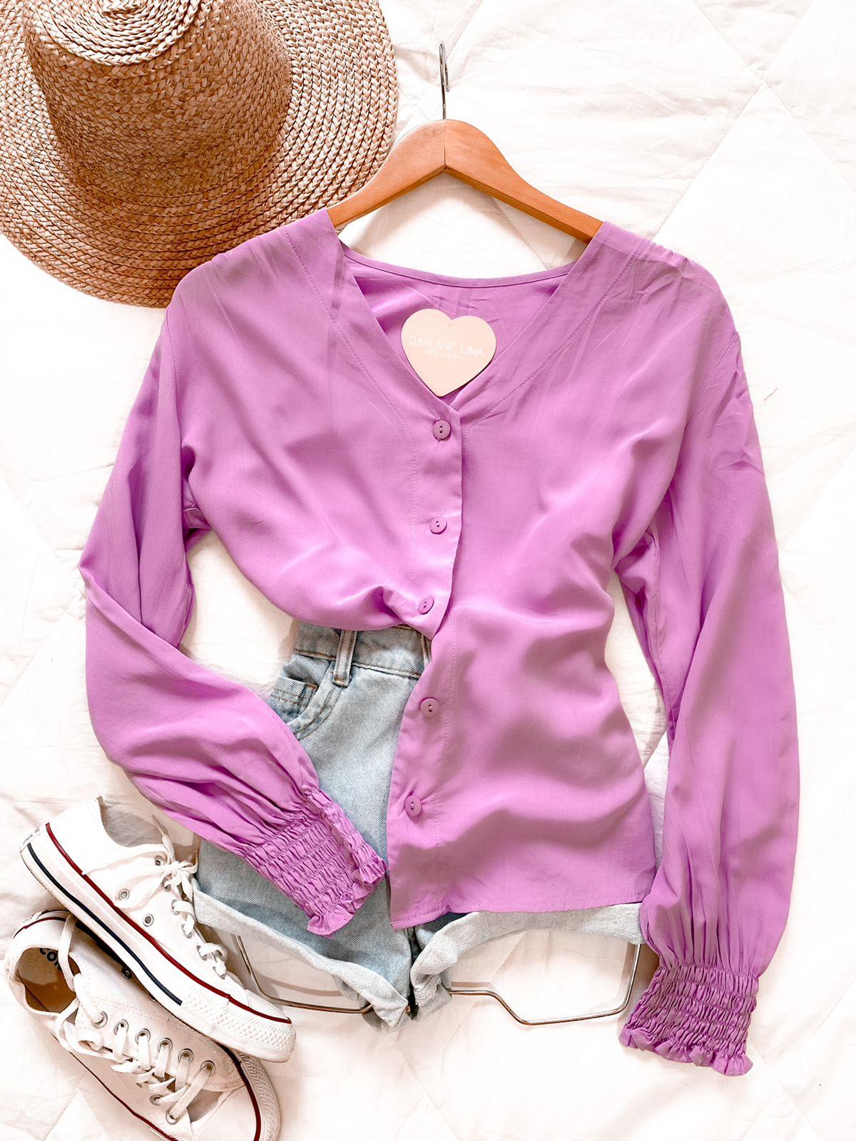 Camisa botões com punho lastex