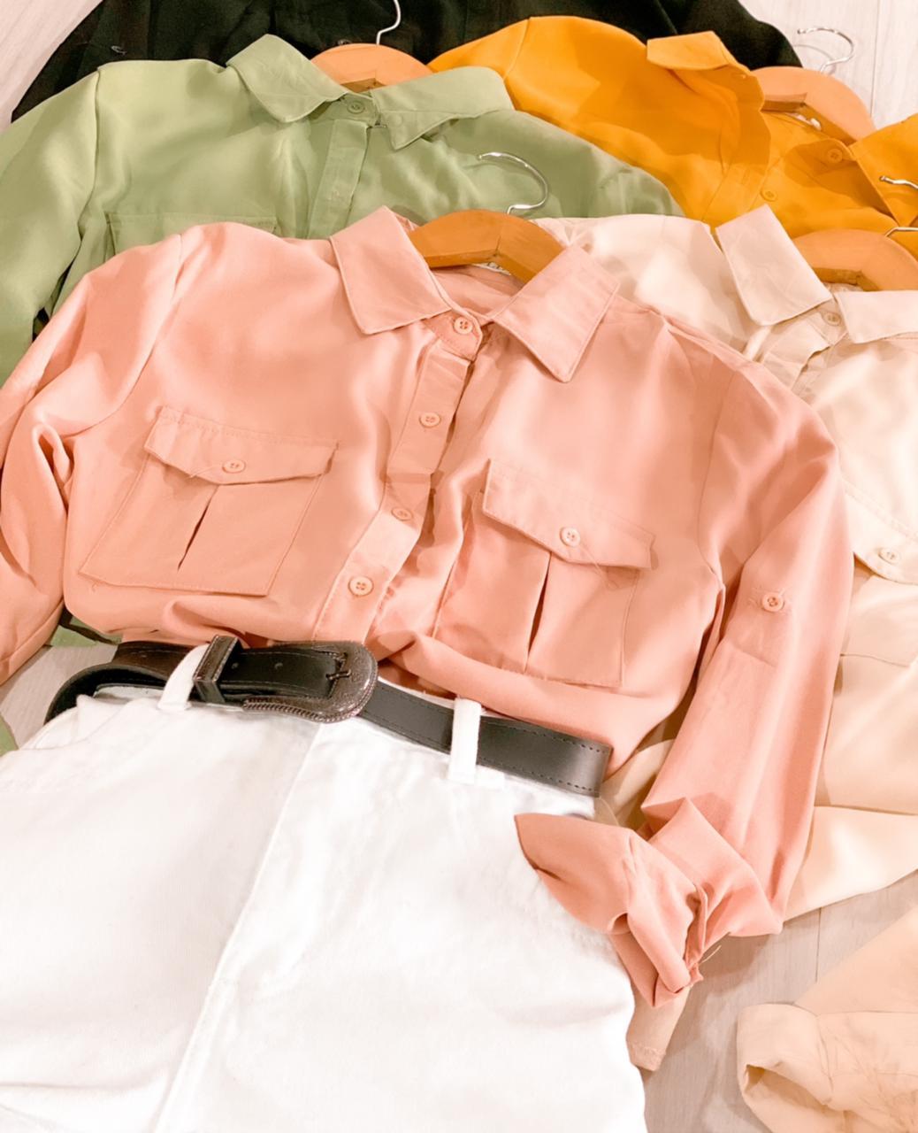Camisa Manga longa com amarração na cintura