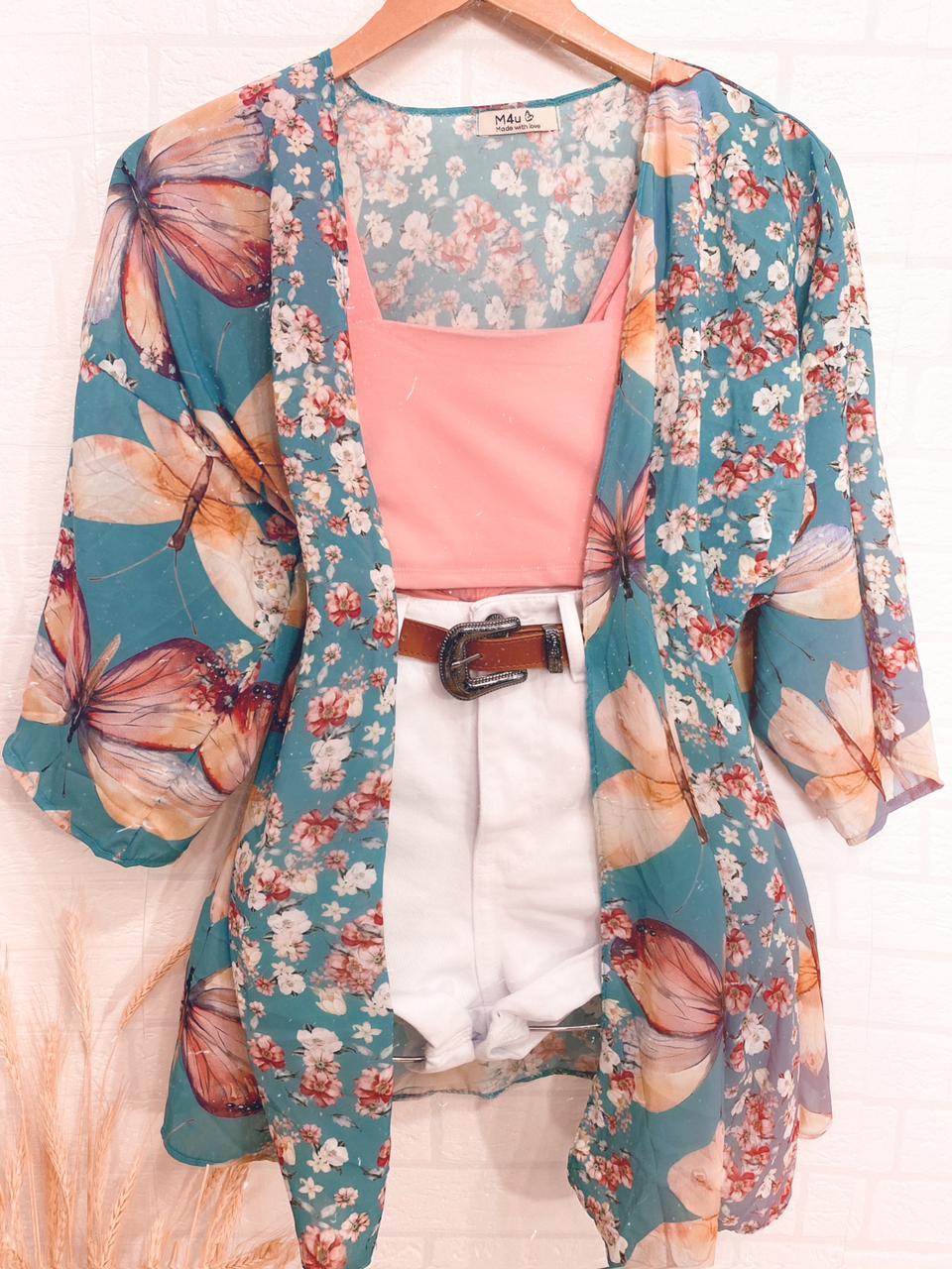 Kimono Borboletas Floral