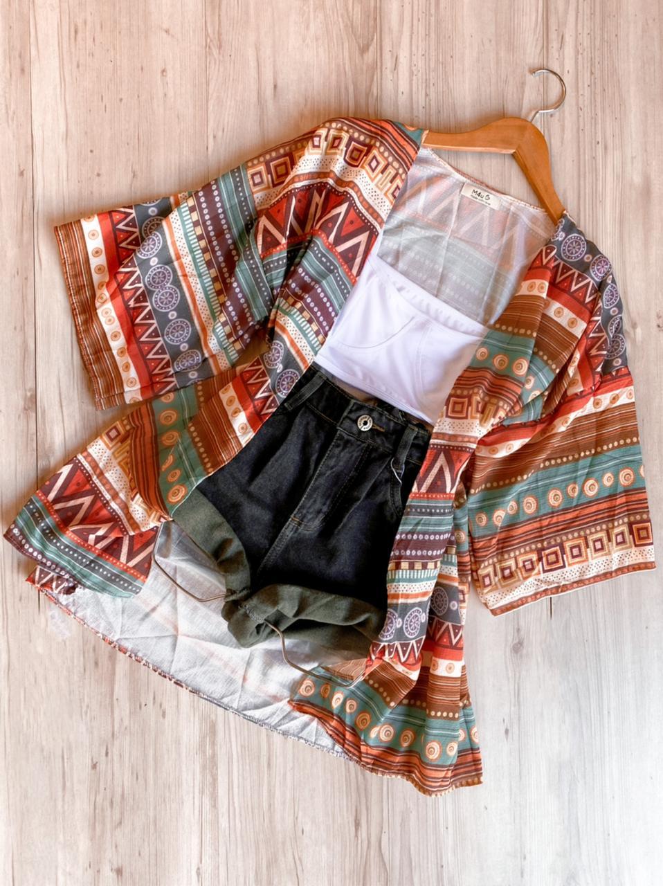 Kimono etnico marrom