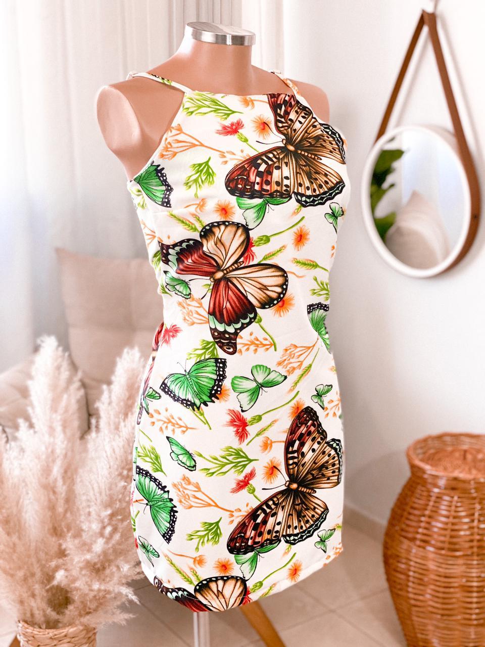 Vestido alça borboletas