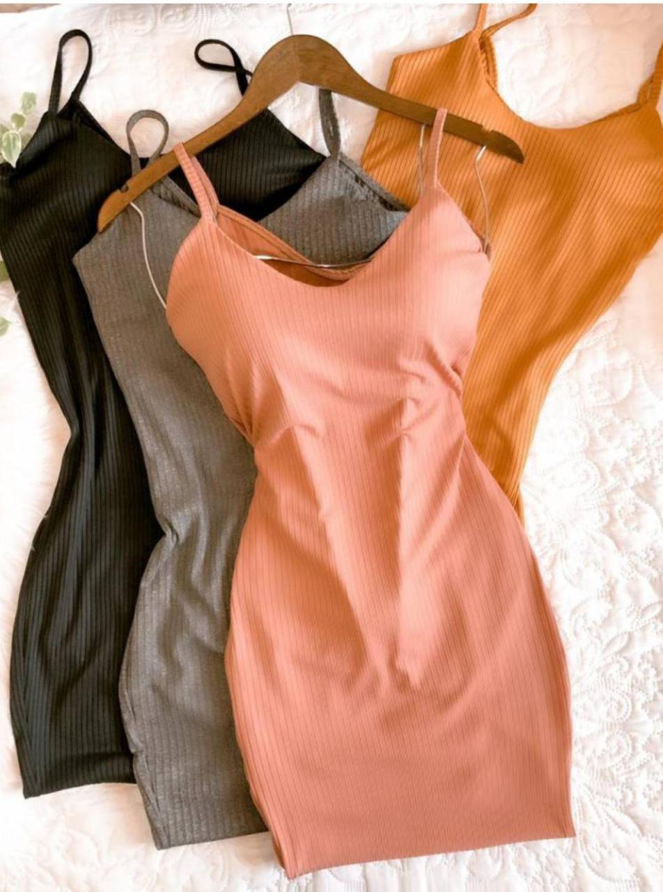 Vestido alça canelado