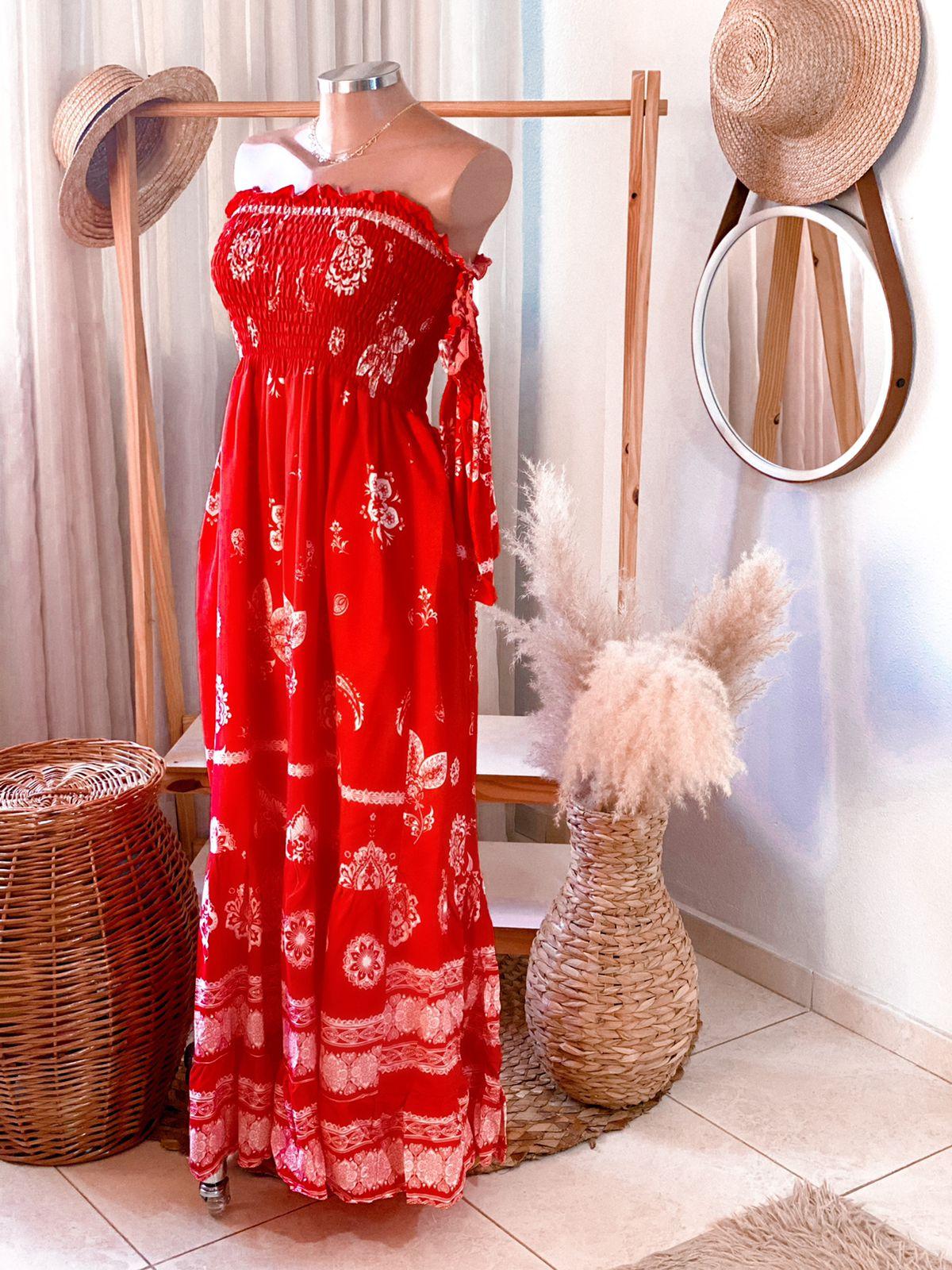 Vestido Longo estampado Ciganinha