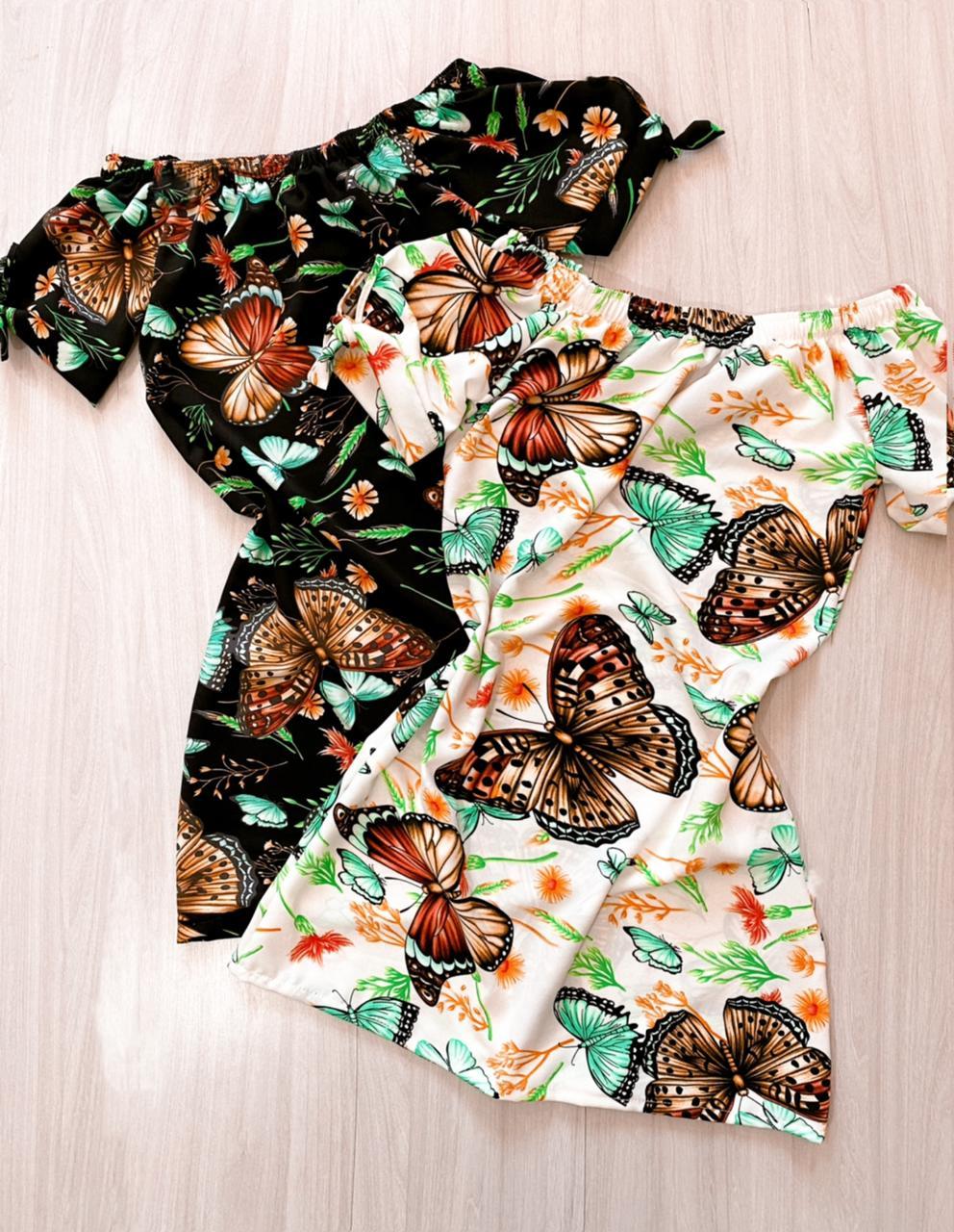 Vestido manguinha borboletas