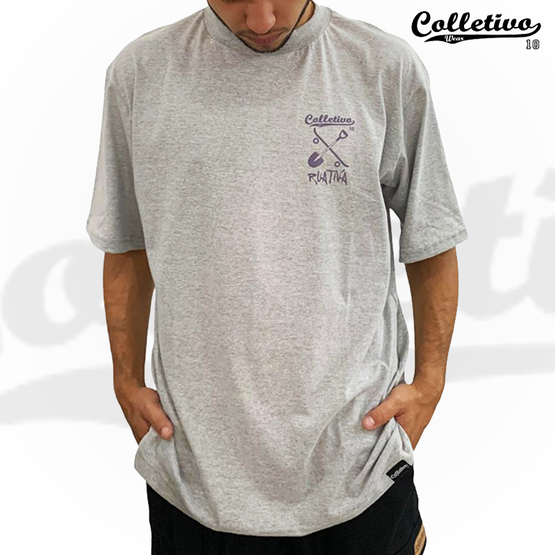 "Camiseta Colletivo Wear COLAB ""RUA ATIVA"" - Cinza GG"