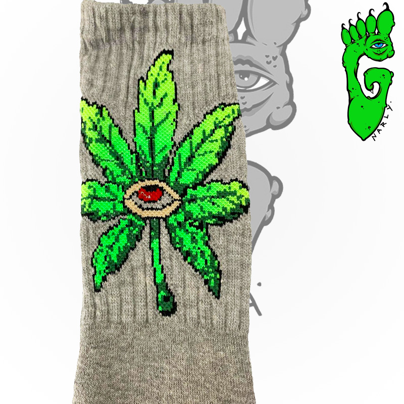 """Meias G-NARLY FOOT -  """"WEED"""" - CINZA"""