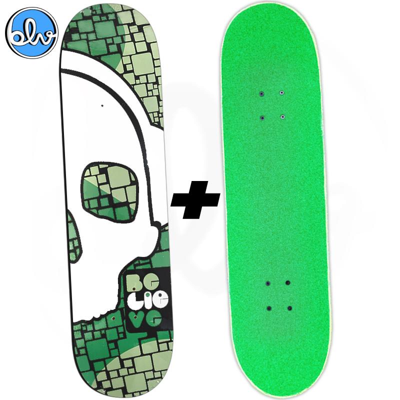 Shape BELIEVE 8.25 Caveira + Lixa Emborrachada Jessup Colors Verde