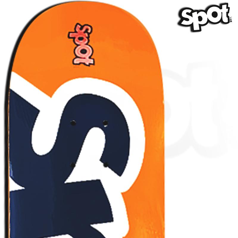 Shape Spot Skateboarding Laranja e Azul 8.0 Profissional Marfim com FIBBER GLASS
