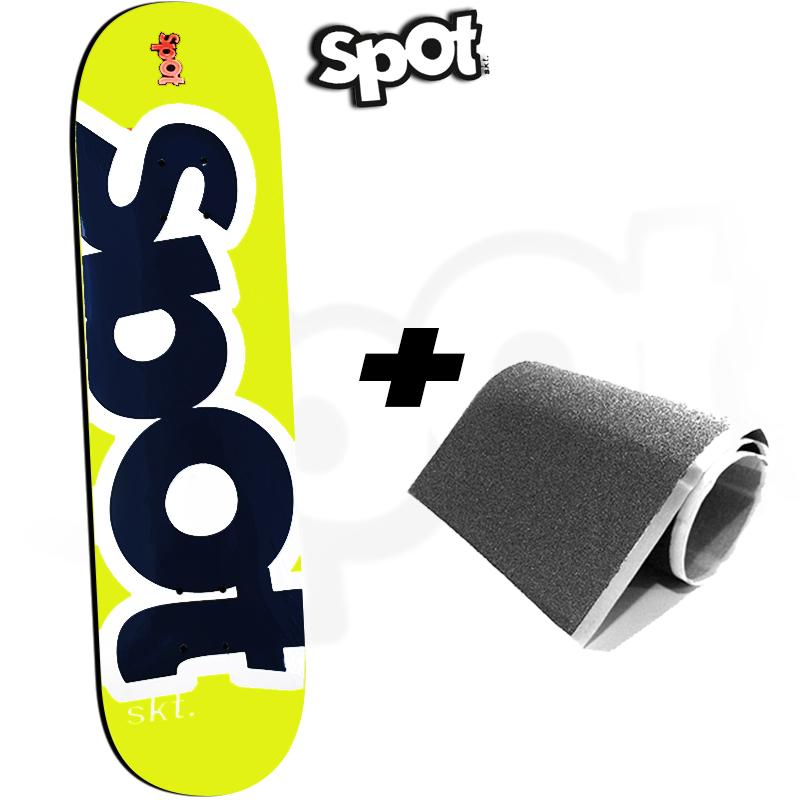 Shape Spot Skateboarding Amarelo 8.25 Profissional Marfim com FIBBER GLASS