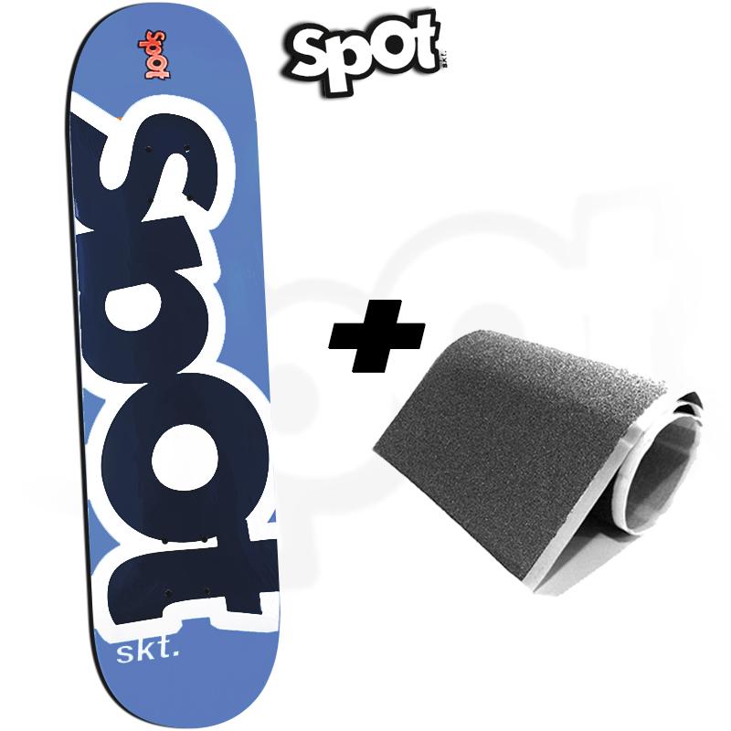 Shape Spot Skateboarding Azul 8.0 Profissional Marfim com FIBBER GLASS