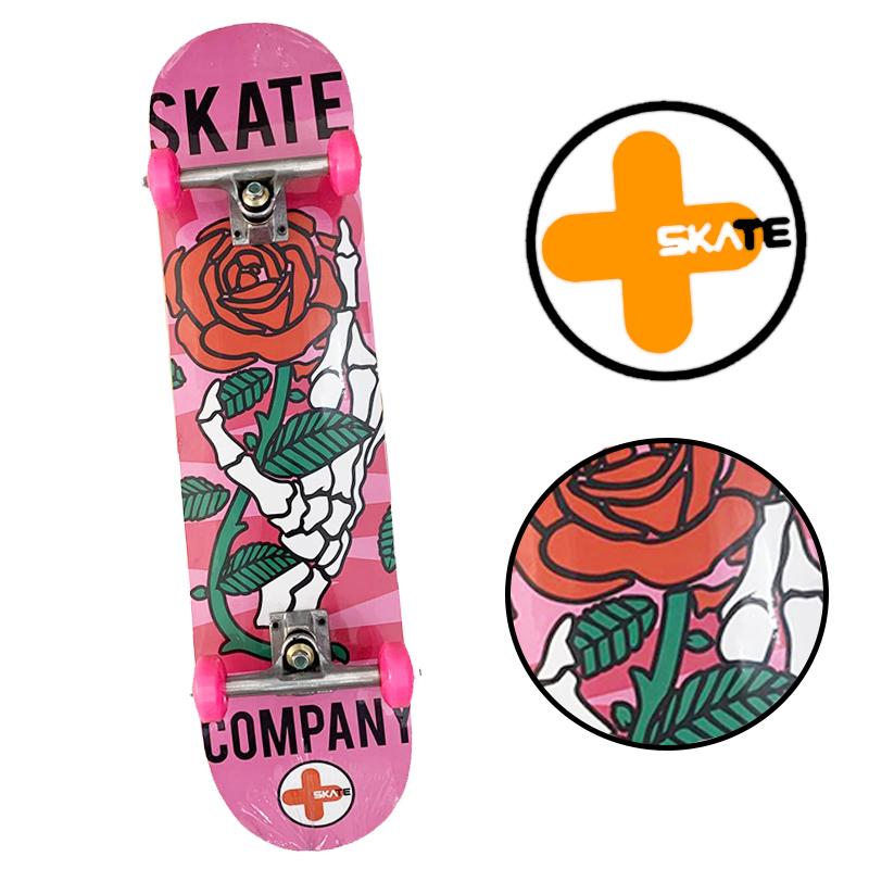 """Skate Montado - INICIANTE """" MAIS SKATE """" Modelo Rosa"""
