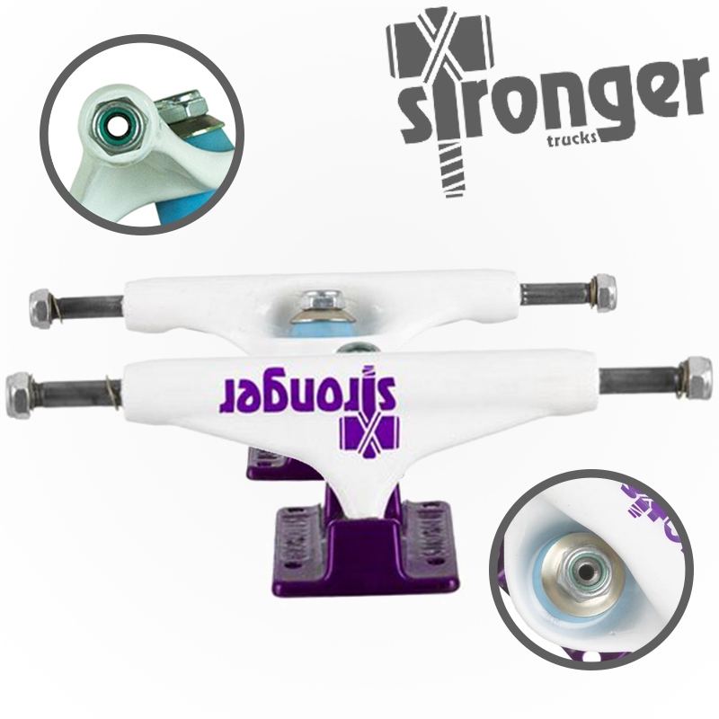 Truck Stronger 139mm Double Hollow Profissional - Roxo/Branco